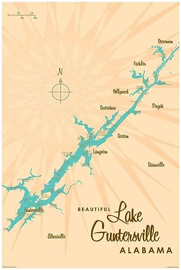 Tremendous Amazon Com Lake Guntersville Alabama Vintage Style Map Art Pdpeps Interior Chair Design Pdpepsorg