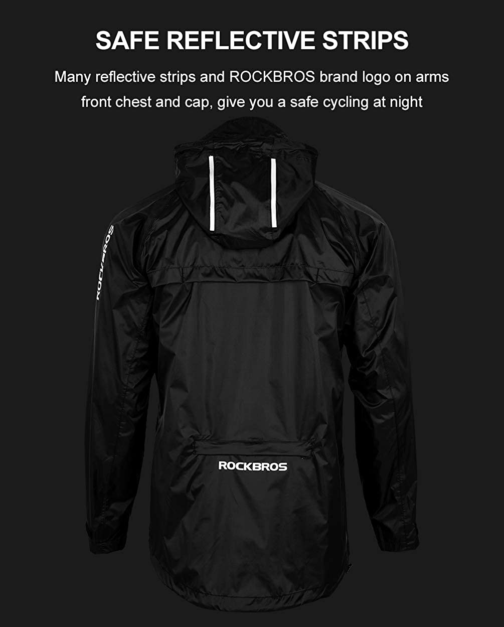 ROCK BROS Men's Waterproof Cycling Jacket Windproof Raincoat for Bike Running: Clothing