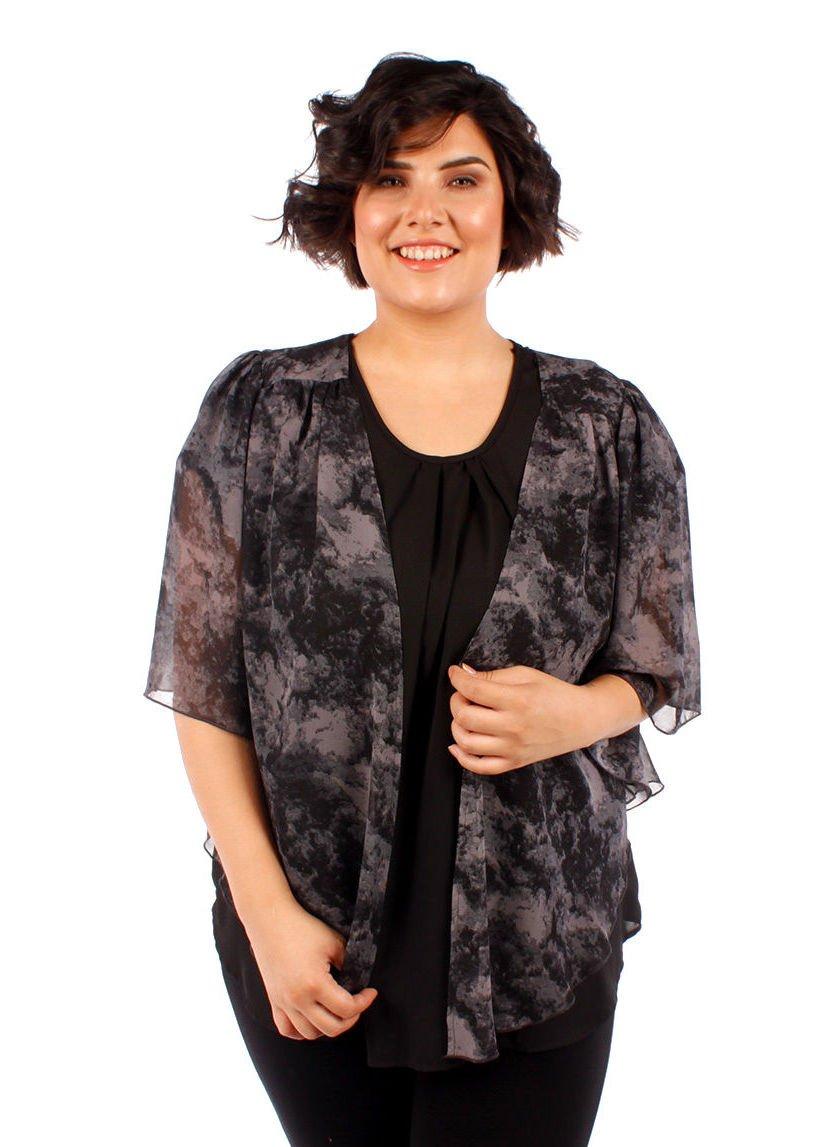 WearOrGoBare Women's Plus Size Cascading Chiffon Bolero Cardigan Shrug Top (6X, Tie Dye Gray)