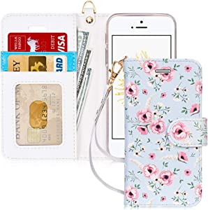 FYY Case for iPhone 5/5s/SE (1st gen-2016), [Kickstand Feature] Luxury PU Leather Flip Wallet Phone Case Folio Cover with [Card Holder][Wrist Strap] for iPhone 5/5s/SE (1st gen-2016) Floral
