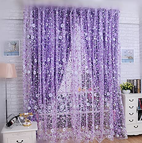 WPKIRA Print Sheer Window Curtains Floral Curtain Panels Drapes For Dining Room