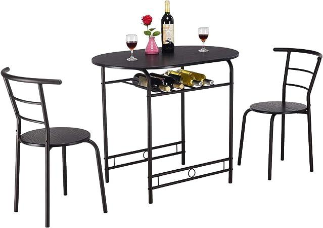 COSTWAY Juego de 3 Piezas Mueble para Comedor 1 Mesa y 2 Taburete Set para Cocina de Madera y Metal (Negro): Amazon.es: Hogar