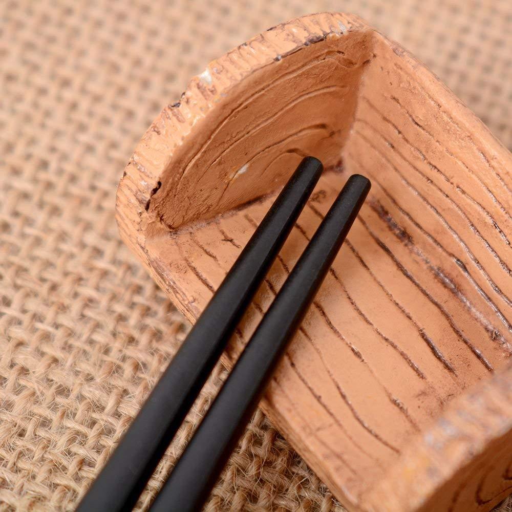 EudoUS 4 Pair Japanese Chopsticks Alloy Non Slip Sushi Chop Sticks Set Chinese Gift