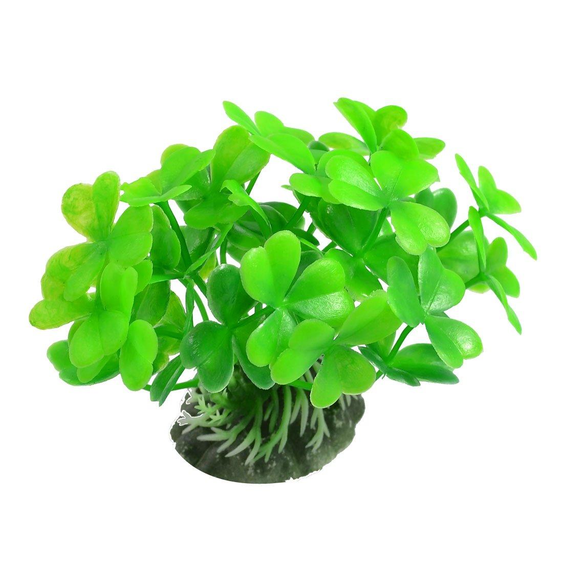 Sourcingmap Plante décorative avec trèfles en plastique pour aquarium Vert DRB5M a12052100ux0053