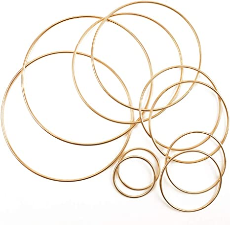 3 Assorted Size Outuxed 12pcs Gold Dream Catcher Metal Rings Supplies Metal Hoops Macrame Creations Ring for Crafts 6inch, 8inch, 10inch