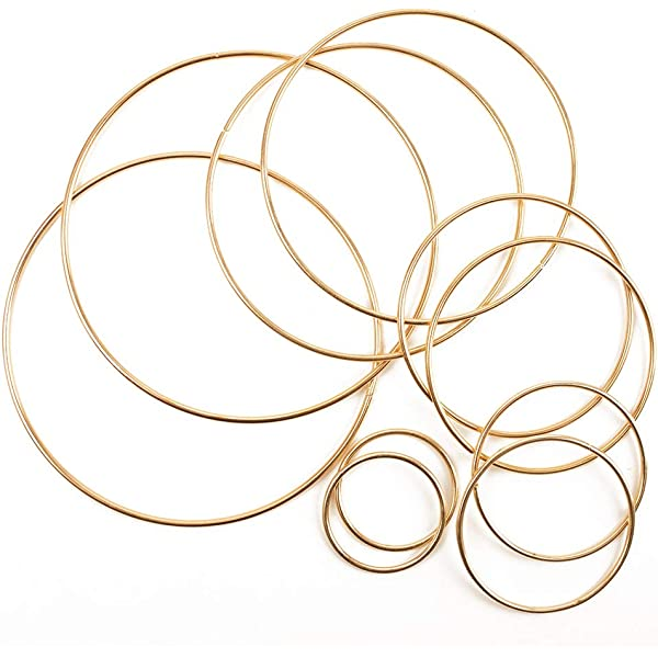 BronaGrand 6pcs Metal Rings Hoops Macrame Rings for Dream Catchers and Crafts,6 inch Gold and Silver