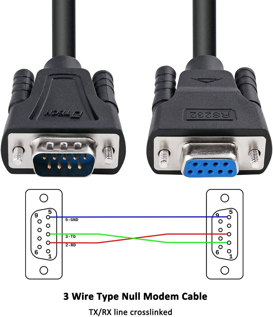 Amazon.com: DTECH DB9 RS232 Serial Cable Male to Female Extension Null  Modem Cord Cross TX RX line for Data Communication (5 Feet, Black):  Computers & Accessories