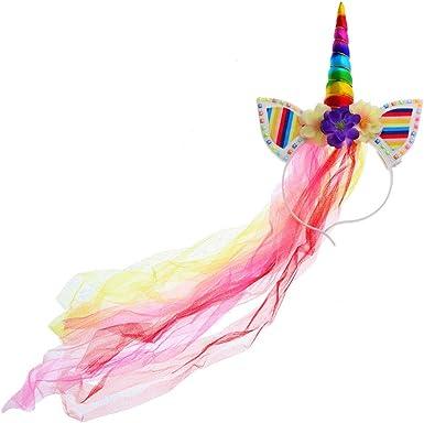 Unicorn Headband with Rainbow Mane Hair Accessory for Girls
