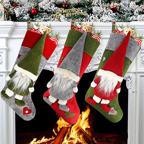 "Aiduy Set of 3 Christmas Stockings 18"" with Cute 3D"