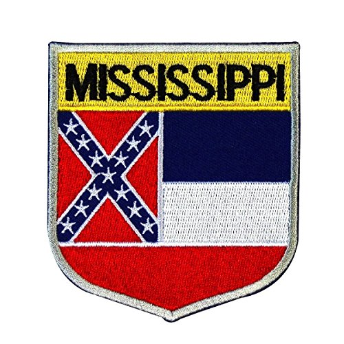 (State Flag Shield Mississippi Patch Badge Travel Embroidered Iron On Applique )