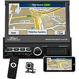 "Podofo Single Din Car Stereo Navigation Car Radio 7"" Motorized Touch Screen Bluetooth Head Unit Support GPS/FM Radio/AUX-in/U"