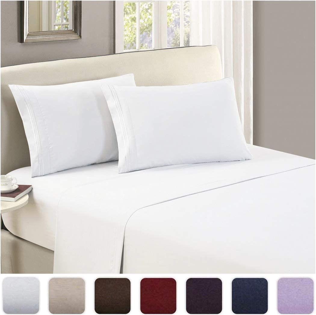 Mellanni Luxury Flat Sheet - Brushed Microfiber 1800 Bedding Top Sheet - Wrinkle, Fade, Stain Resistant - Ultra Soft - Hypoallergenic - 1 Flat Sheet Only (King, White): Home & Kitchen