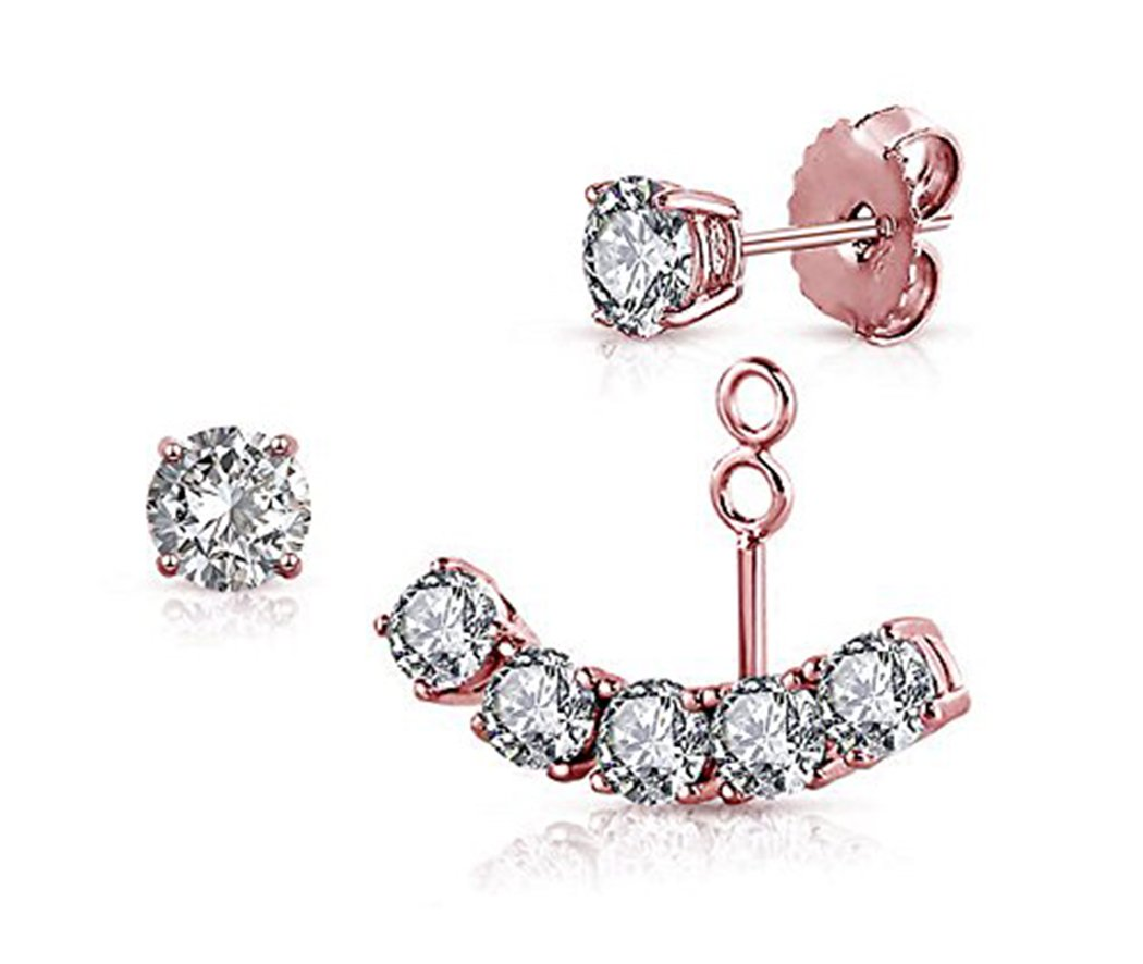 Sterling Silver Front Back 2 in 1 with Cubic Zirconia Stud And Ear Jacket Cuff Earrings Set ZLFT
