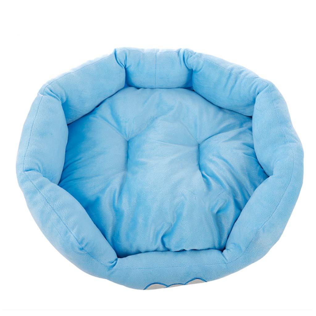 Large bluee Pet Nest Four Seasons Universal Round Small And Medium Velvet Cat Kennel Villa Warm Cushion MUMUJIN (Size   L)