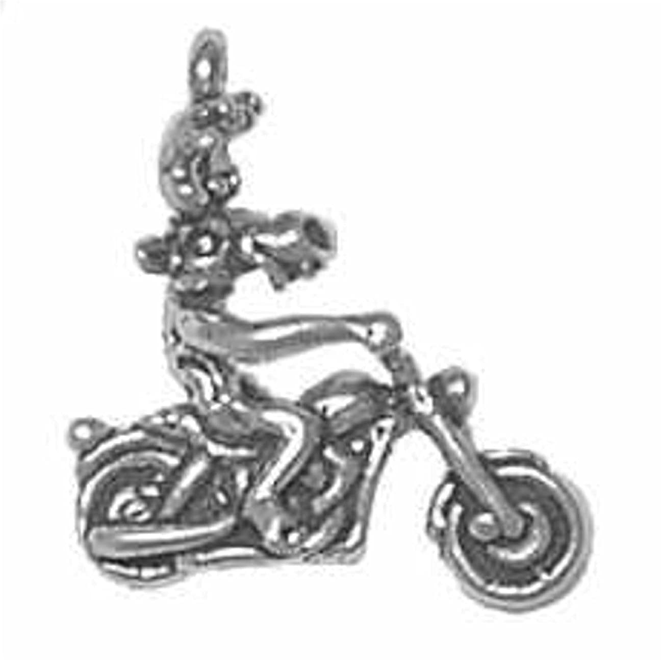 Sterling Silver Womens 1mm Box Chain 3D Large Moose On Motorcycle Cruiser Pendant Necklace