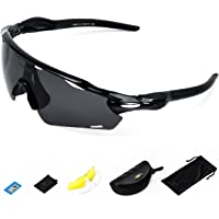 Batfox Polarized Sports Sunglasses with Interchangeable Lenses, Comfortable Silicone Leg, tr90 Unbreakable Frame for Running Cycling Baseball Fishing Driving,100% UV Protection