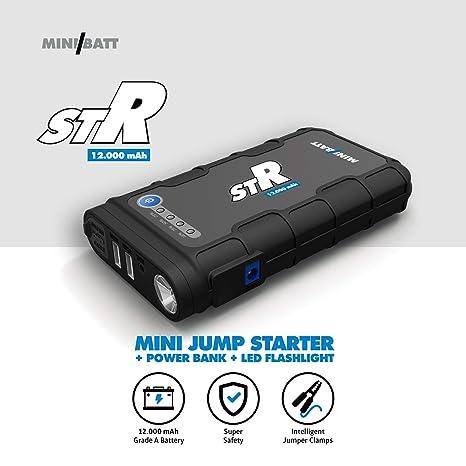 STR - Miniarrancador para coches 12.000 mAh de MiniBatt- Jump starter multifunción para emergencias 12V