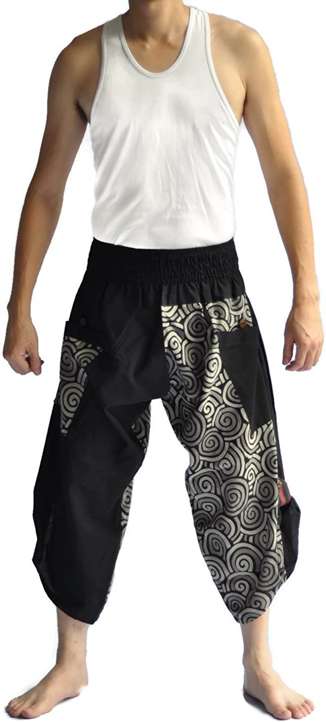 Siam Trendy Mens Harem Pants Design Japanese Style Pants One Size Black and Circle Design