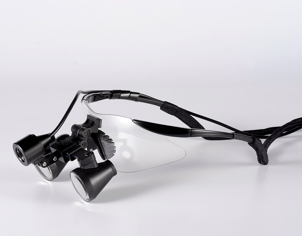Songzi Optics (2.5X,3X,3.5X Optional) Black Goggles Frame Binocular Medical Dental Loupes Surgical Loupes & High Brightness Headlight (Working Distance :(280-380mm) S, Magnification:2.5X)
