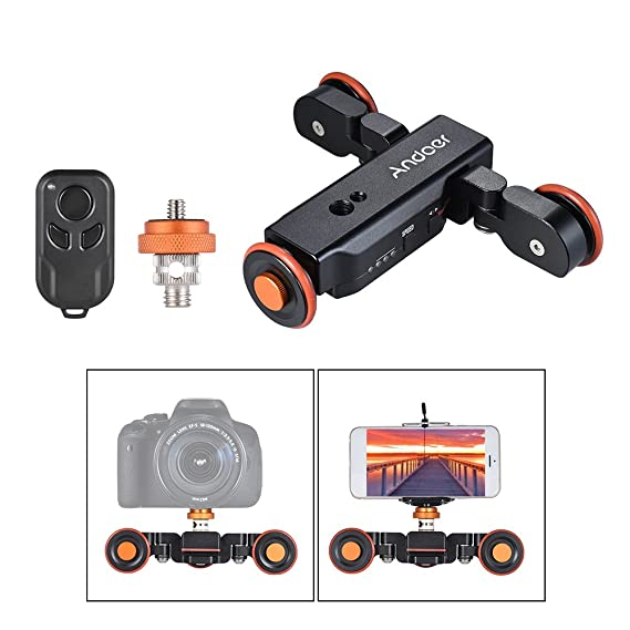 Review Andoer Track Dolly, Video Dolly Electric Track Slider with Wireless Remote Control 3 Speed Adjustable Chargable Mini Slider Skater for Canon Nikon Sony DSLR Camera IOS Android Smar (Black)