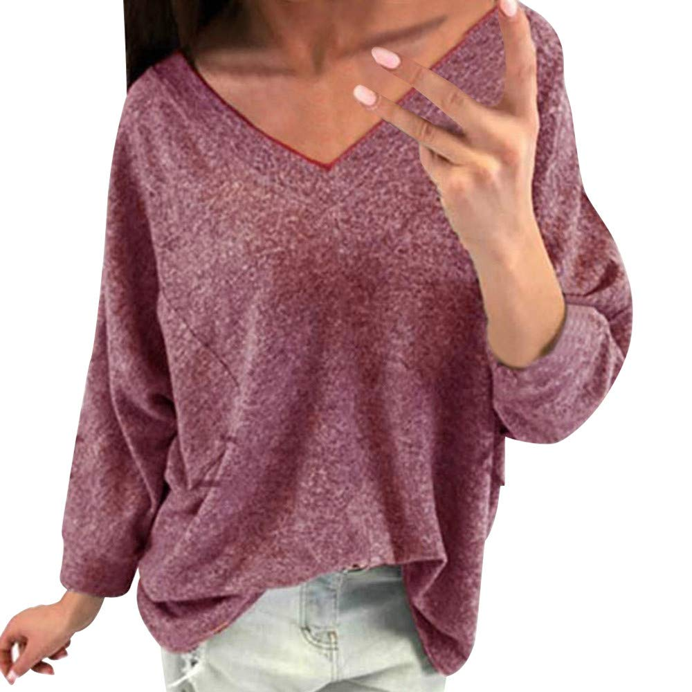 SMALLE ◕‿◕ Women's Solid Color Front Pocket Pullover V-Neck Long Sleeve Casual Tops Loose Sweatshirts