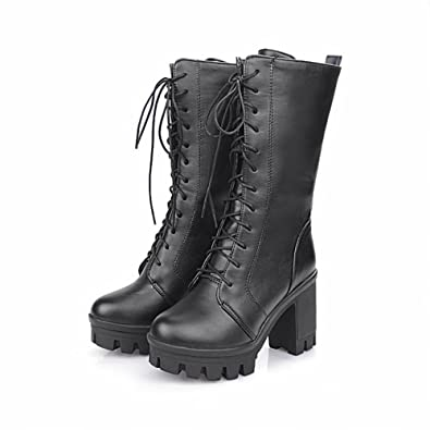 b6d58f38ed2 Carol Shoes Fashion Women's Casual Lace-up Platform Vintage Chunky High  Heel Cosplay Boots