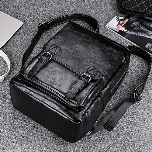 Meoaeo Leder Schwarz Double Shoulder Bag Computer Package Big Kapazität