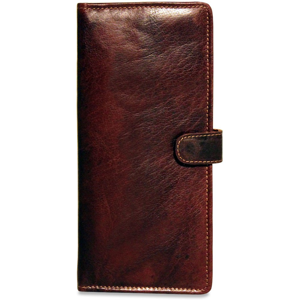 Jack Georges Voyager Travel Wallet, Leather Card Case w/ ID window in Brown