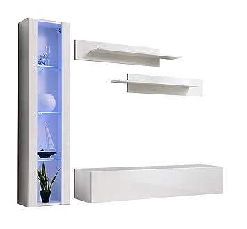 Conjunto Muebles de salón Nora Blanco Modelo G2 con luz LED ...
