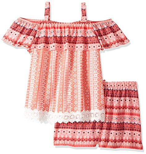 My Michelle Big Girls' 2 Piece Set with Fashion Top, Coral, XL (My Clothes Michelle)