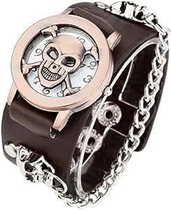 redvive moda punk cadena calavera mujeres hombres reloj de pulsera puño gótico reloj
