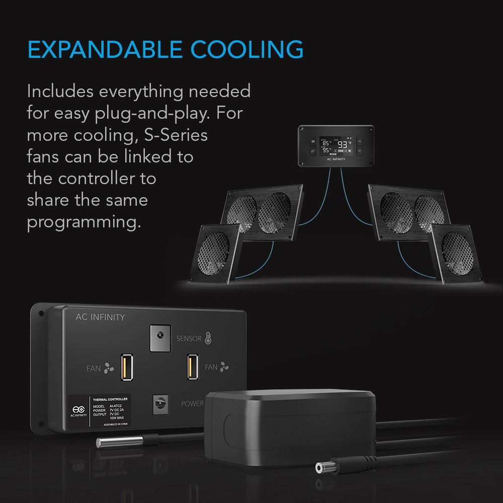 Amazon.com: AC Infinity AIRPLATE T7, Quiet Cooling Fan System with  Thermostat Control, for Home Theater AV Cabinets: Electronics