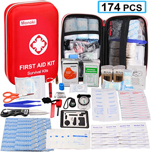 174 Pcs First Aid Kit Survival Kit, Monoki Emergency Survival Kit Gear Medical Supplies Trauma Bag Safety First Aid Kit for Home, Office, School, Car, Boat, Travel, Camping, Hiking, Sports, Adventures by Monoki