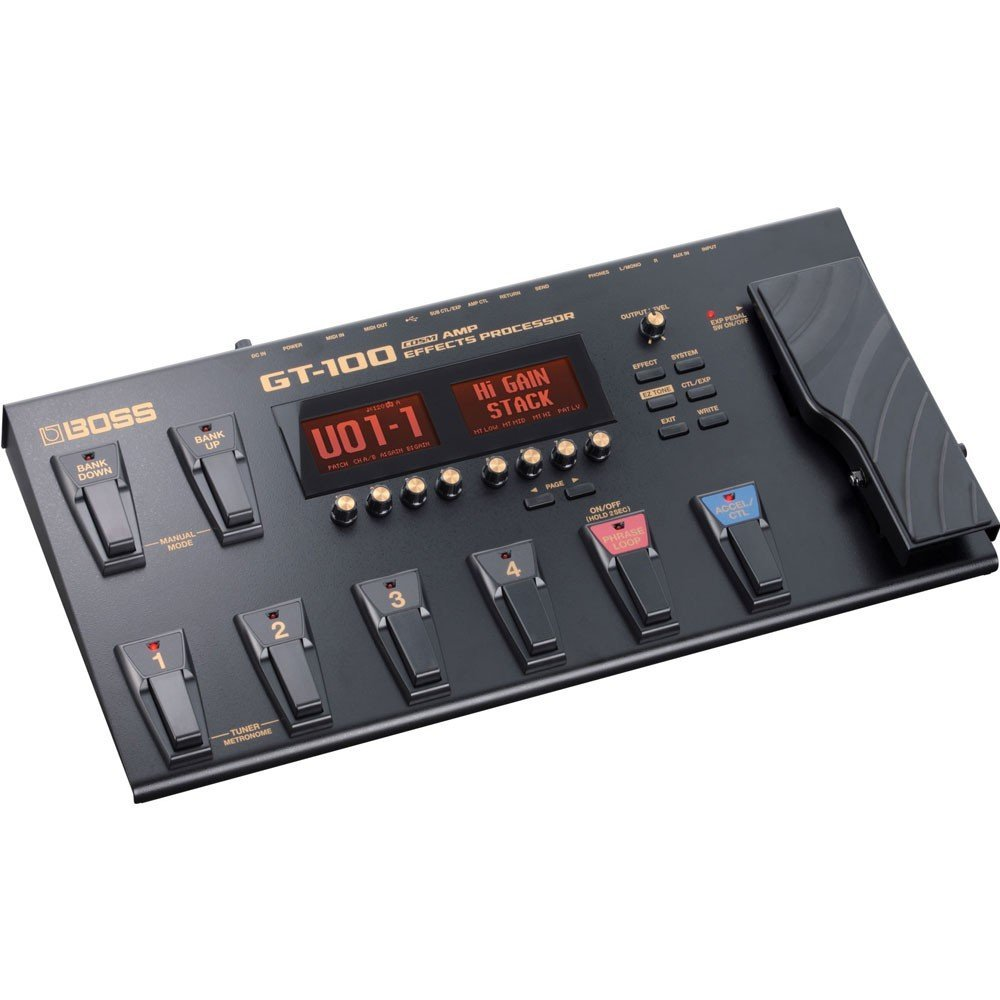 BOSS GT-100 Amp Effects Processor with Patch Cables