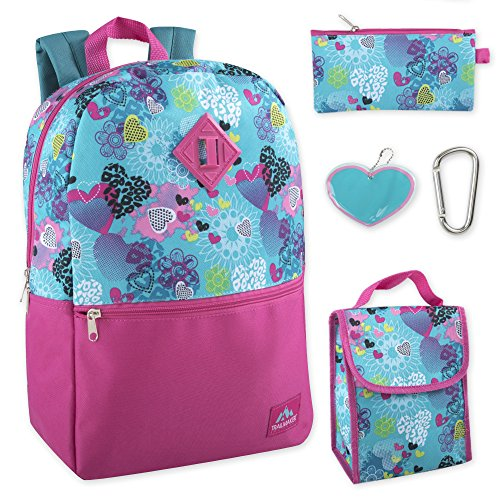 Trailmaker 5 in 1 Girls' Full Size School Character Backpack Set -