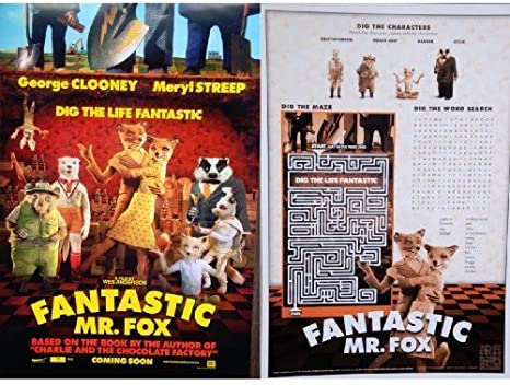 Fantastic Mr Fox D S 13 5 X20 Original Promo Movie Poster Wes Anderson At Amazon S Entertainment Collectibles Store