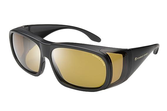 c53e11f88c27 Amazon.com: Eagle Eyes FitOns Polarized Sunglasses - Black Matte ...