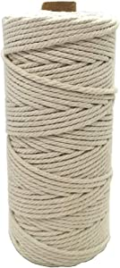 LIBAI-V Cotton Twine, 328 Feet Macrame Cord Cotton Rope, Garden String for DIY Arts & Crafts, Gift Package Twine Wall Hanging Craft Making, DIY, Decorative Projects (3MM.100M)