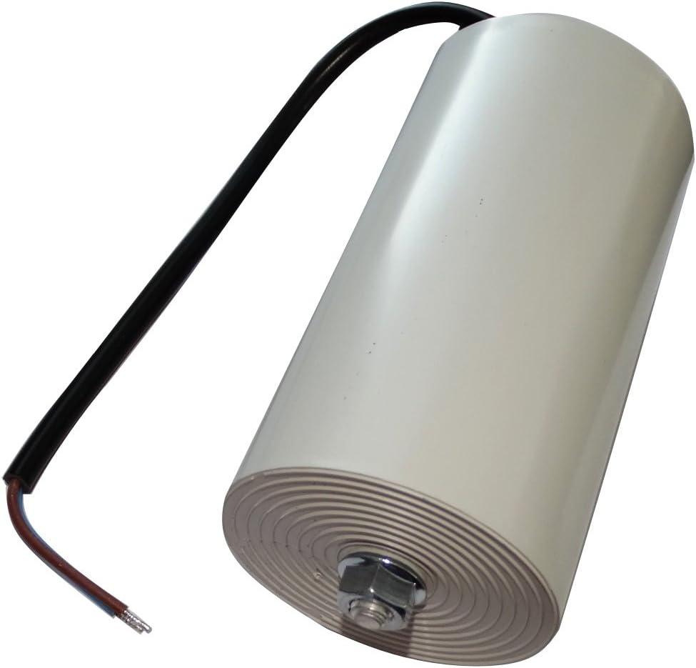 AERZETIX: Condensador permanente para trabajo del motor 100µF 450V precableado Ø65x120mm ±10% 10000h C18736