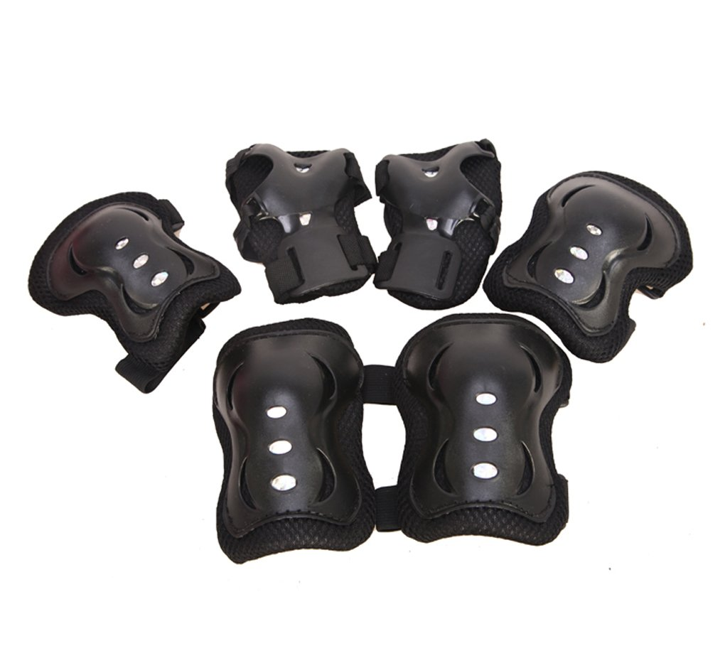 PURFUN Kids Girls Boys 6 in 1 Safety Protective Gear Knee Elbow Wrist Pads Set Adjustable Collision Avoidance Skate Roller Blading Biking Knee Braces Elbow Pads Wrist Support Guards Protector Kneepad