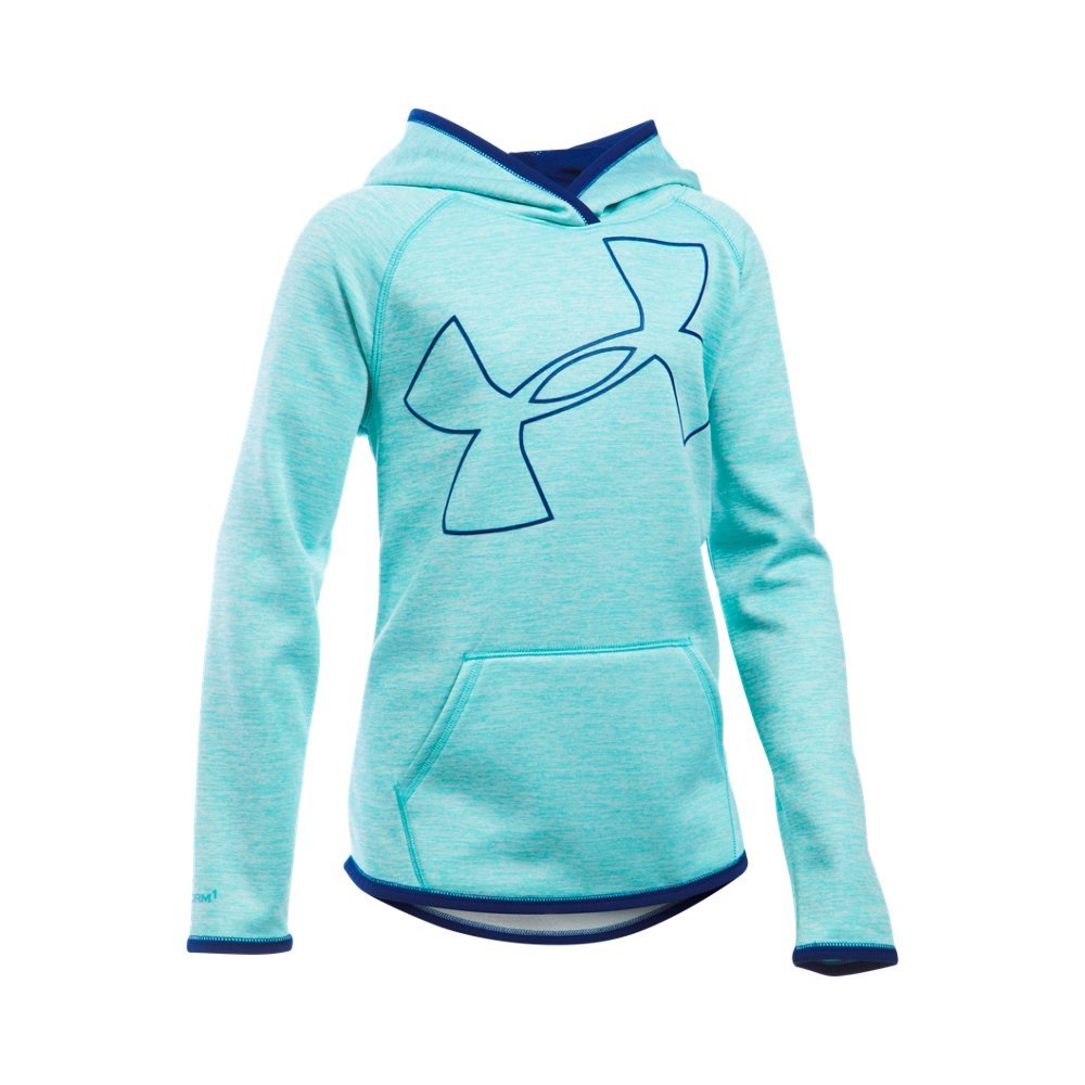 Under Armour Girls' Armour Fleece Novelty Jumbo Logo Hoodie, Cosmos (476)/Caspian, Youth X-Small