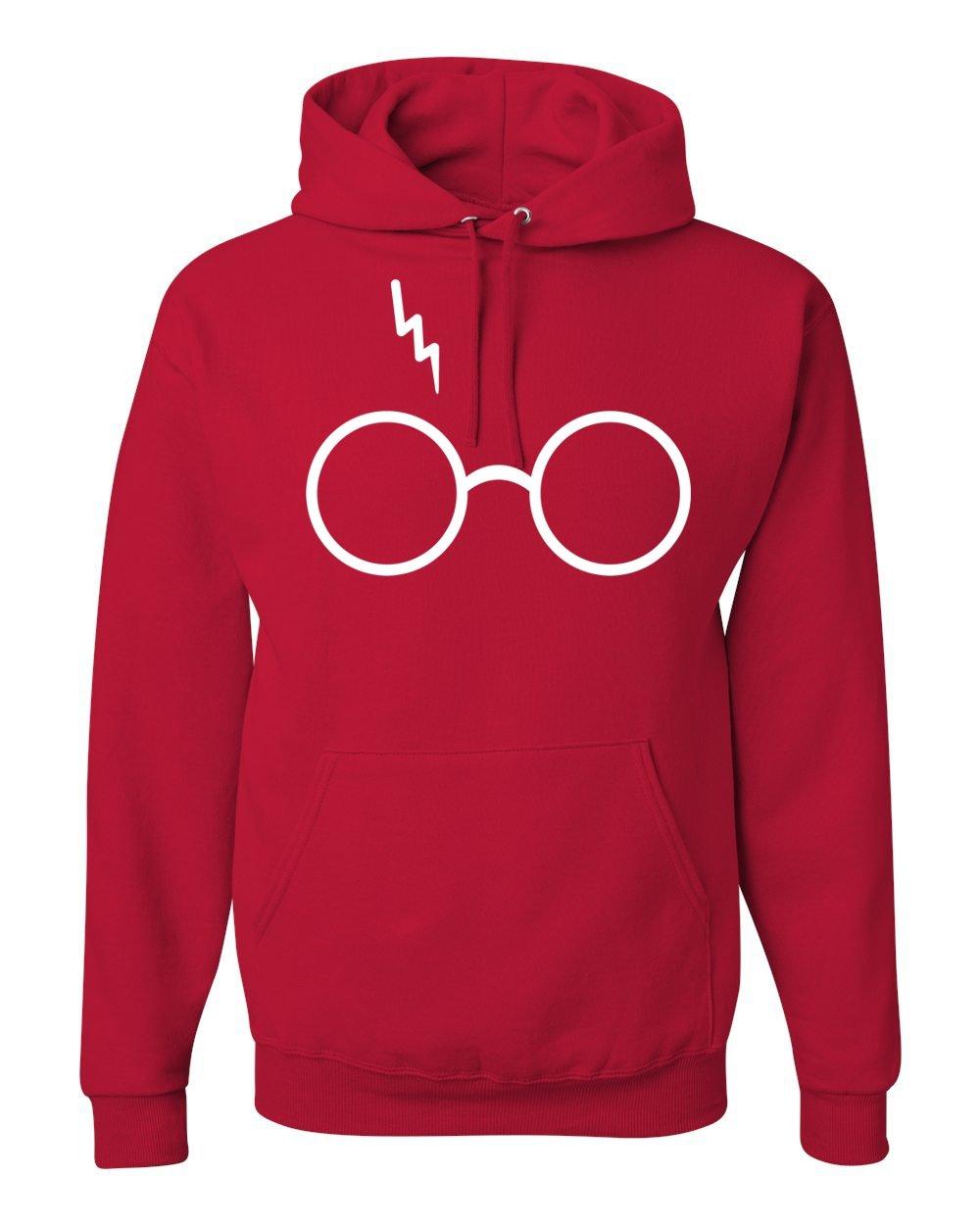 Harry Potter Glasses Scar Unisex Hooded Sweatshirt Fashion Hoodie ( Red , Medium )