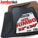 "Jumbo Size Cat Litter Trapper by iPrimio - Litter Mat, EZ Clean Cat Mat, Litter Box Mat Water Proof Layer and Puppy Pad Option. Patent Pending. (32""x30"" Black)"