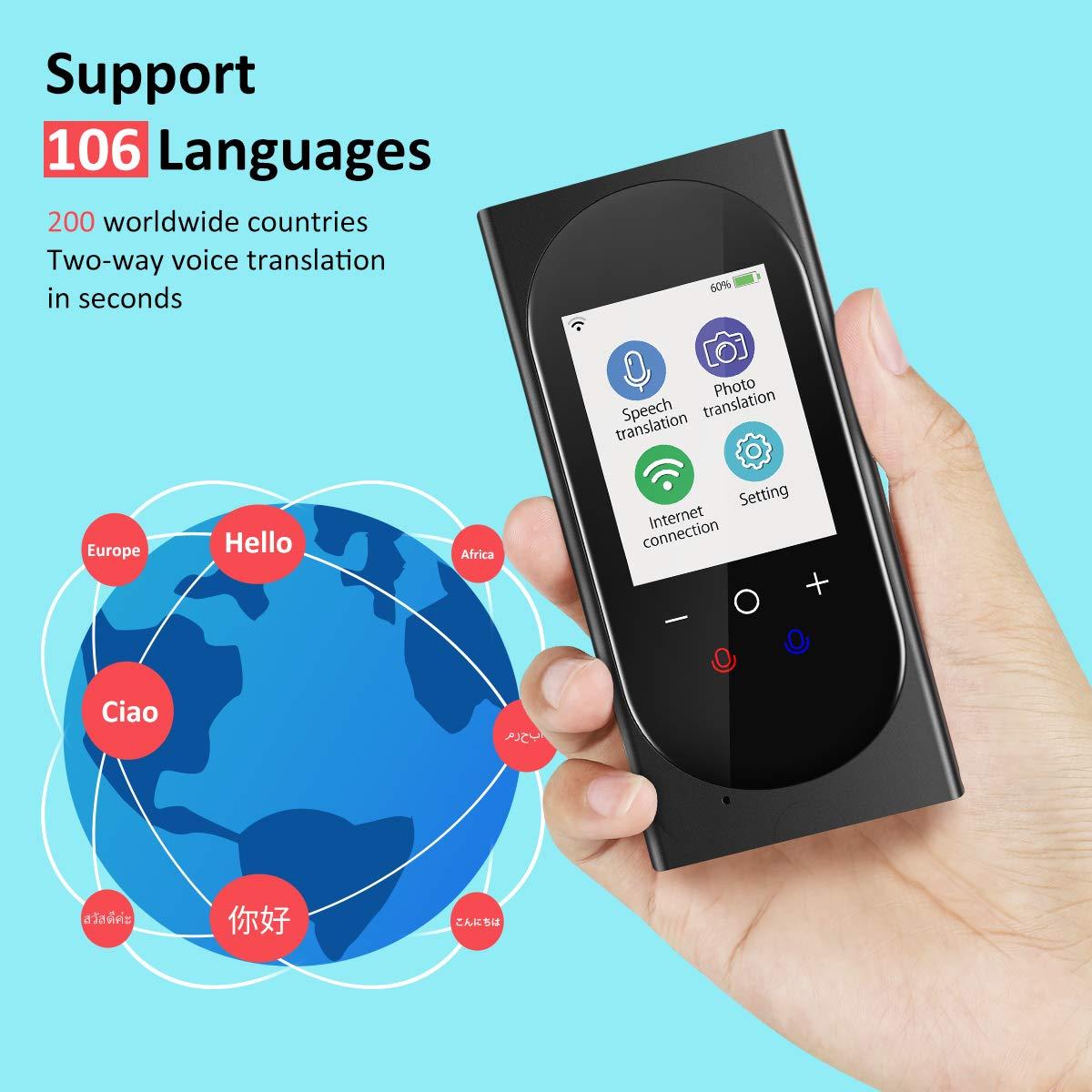 Buoth Traductor Instantaneo de voz Dispositivo compatible con pantalla t/áctil de alta definici/ón de 2.4 pulgadas 106 lenguaje preciso chat de negocios inteligente extranjero