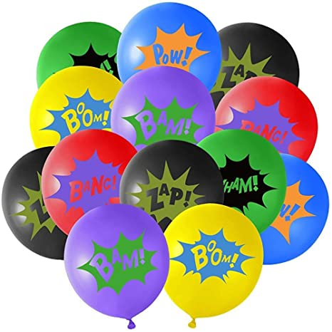 36pcs 12 de superhéroes de látex Globos con Lemas de superhéroes ...