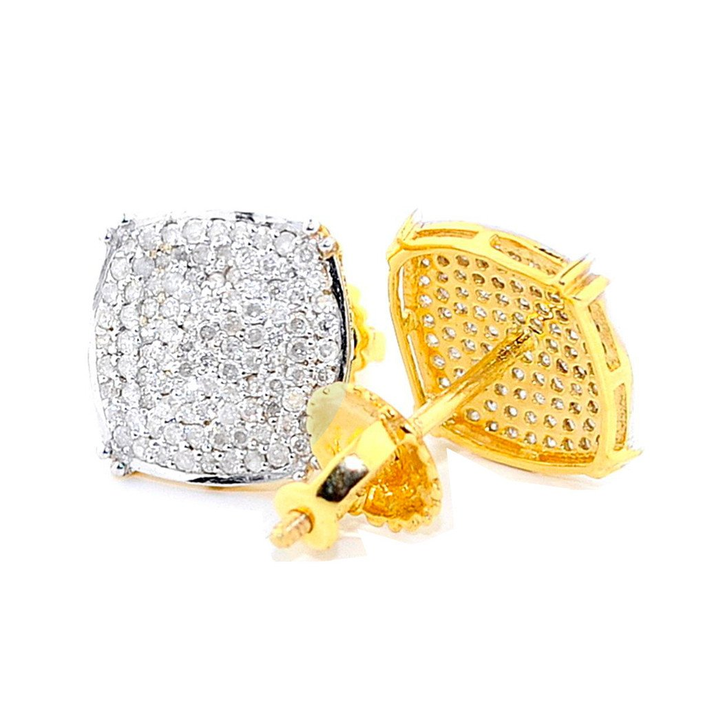 Big Diamond Earrings Mens 1/3cttw 10k Yellow Gold Pave Set Screw Back 9.5mm(I3 Clarity, 0.4 cttw)