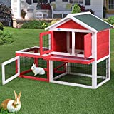 LAZYMOON 53' Wooden Rabbit House Hutch Chicken Coop Poultry Bunny Small Animal Cage w/Tray Run(