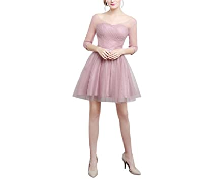 AUUOCC Tulle Half Sleeves Draped Wedding Party Dress Knee Short Party Formal Gowns Cheap Cocktail Dress