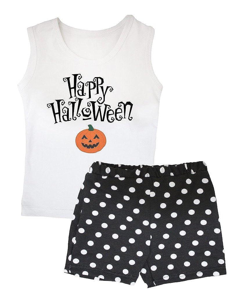 Petitebella Happy Halloween Pumpkin White Vest Polka Dots Black Short Set 1-8y