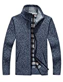 FashionLee Men's Thick Jacquard Pattern Zip-up Open Knit Cardigan Sweater Outdoor Sweater Warm Sweater